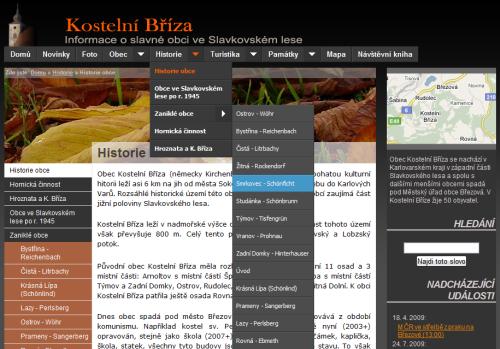 Původní vzhled šablony pro webové stránky obcí