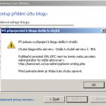 Chyba - je třeba nejdříve povolit publikační protokol XML-RPC